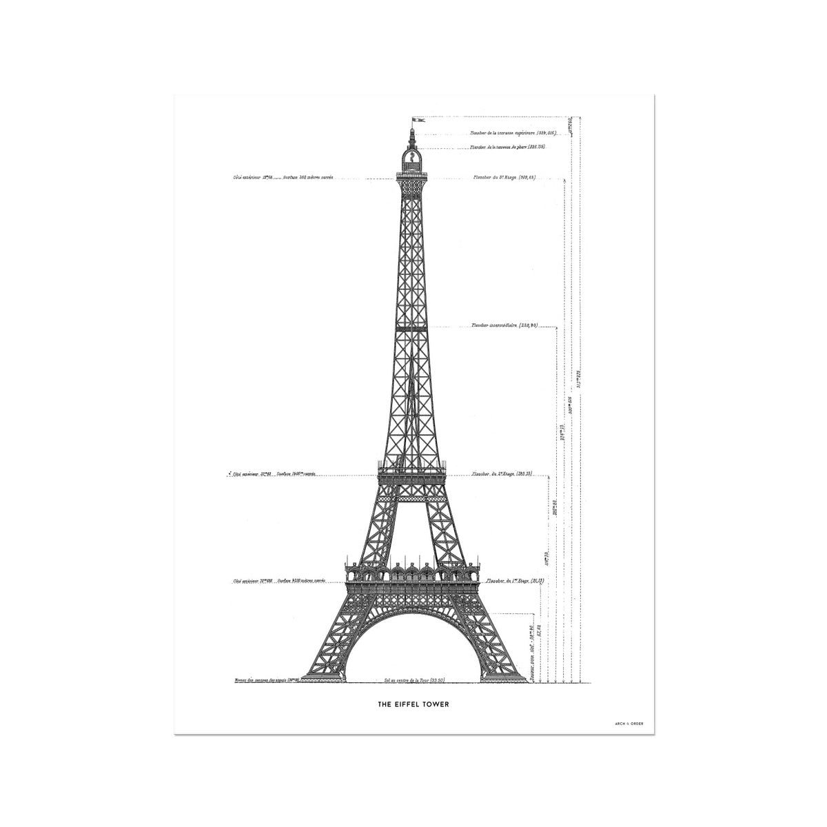 The Eiffel Tower - Primary Elevation - White -  Etching Paper Print
