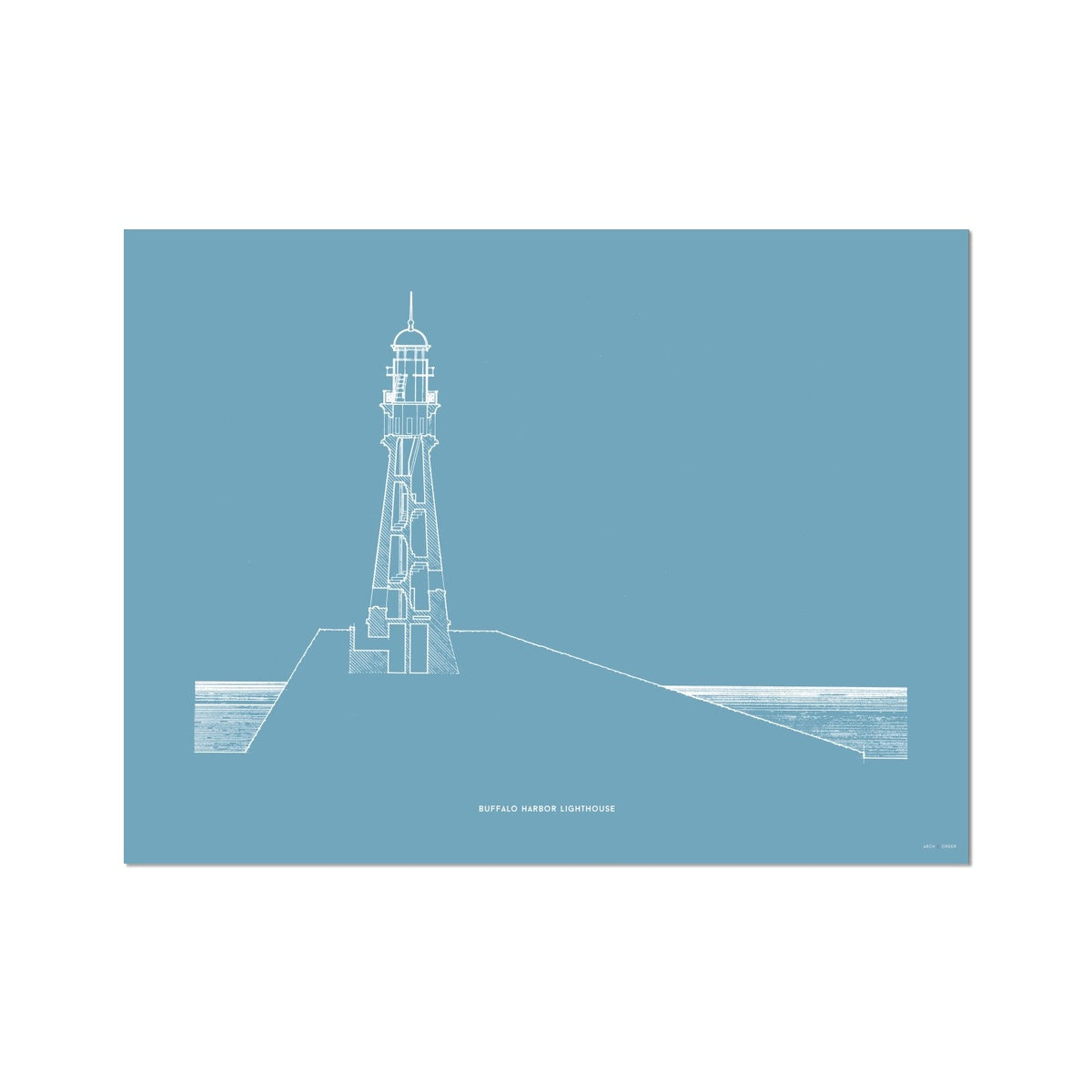 Buffalo Harbor Lighthouse - Cross Section - Blue -  Etching Paper Print