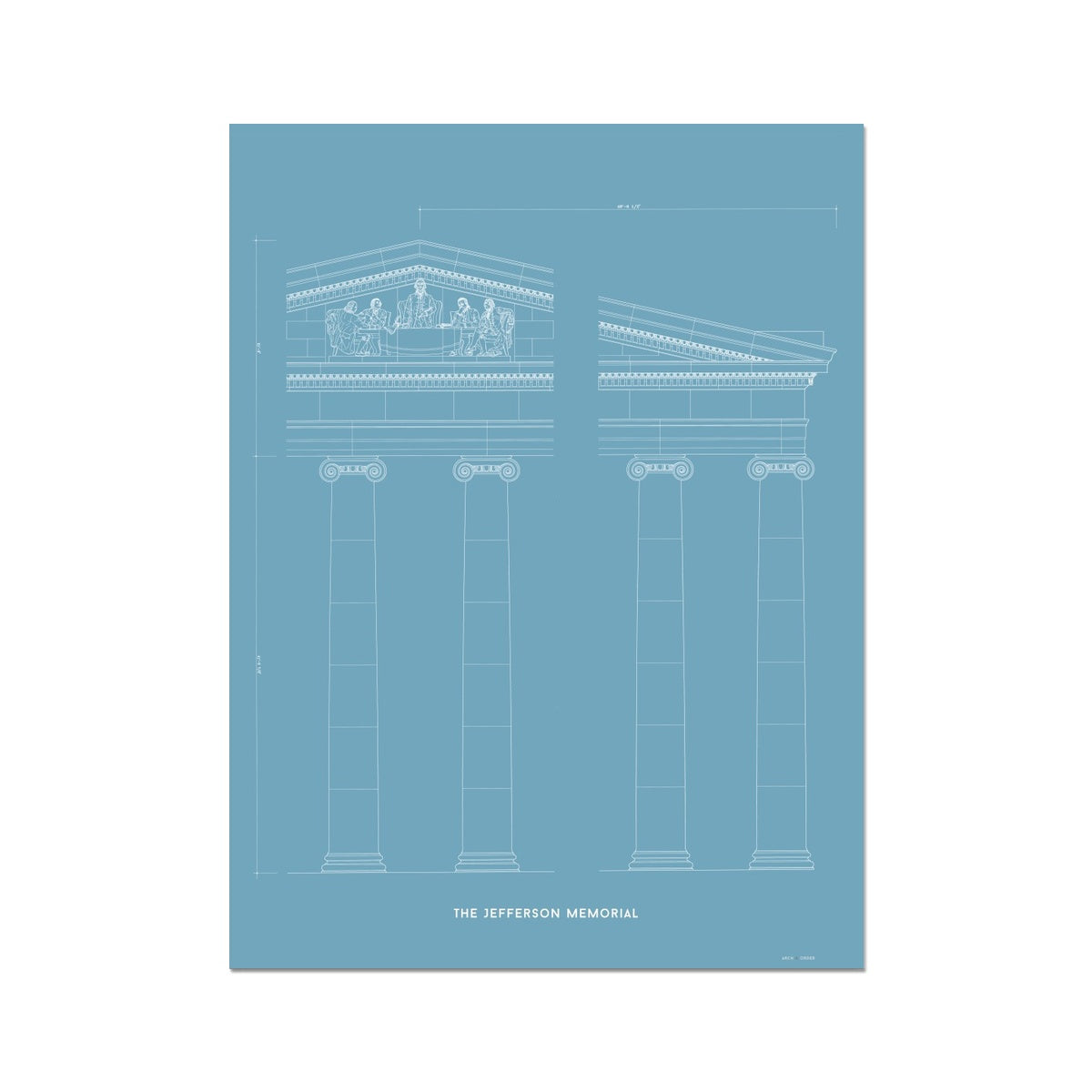 The Jefferson Memorial Portico Detail - Blue -  Etching Paper Print
