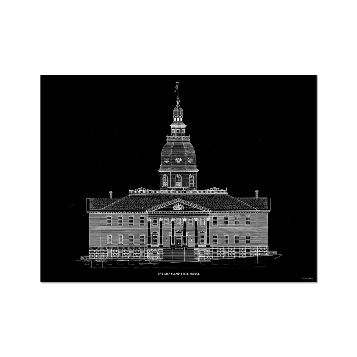The Maryland State House - Northwest Elevation - Black -  Etching Paper Print