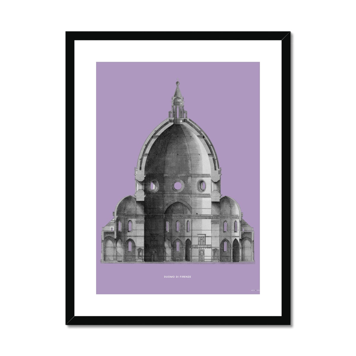 Duomo di Firenze - Primary Elevation Cross Section - Lavender -  Framed & Mounted Print