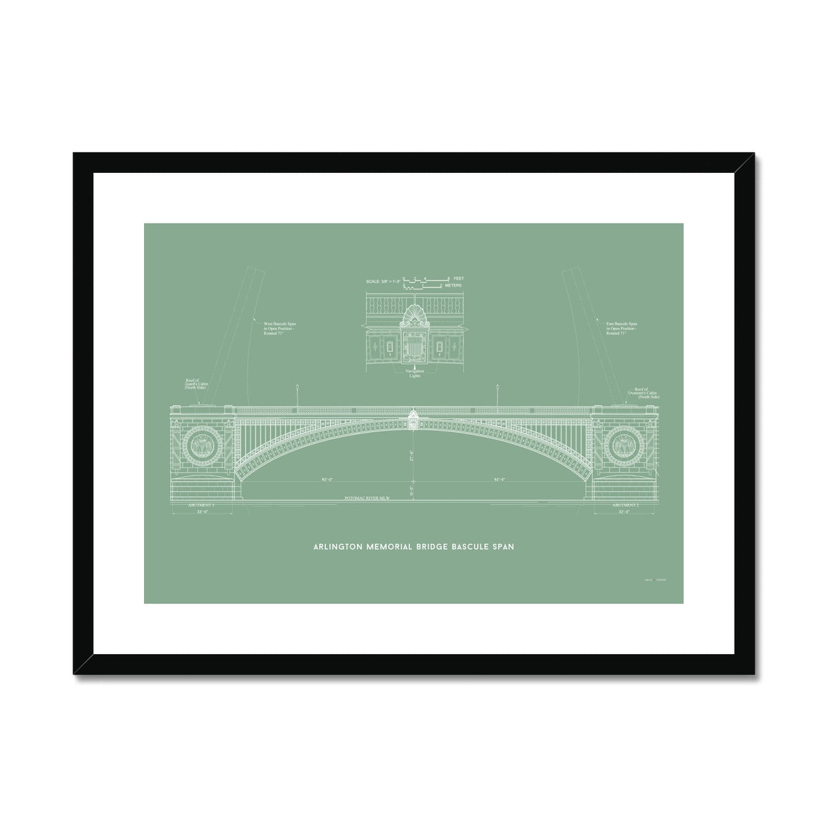 The Arlington Memorial Bridge - Bascule Span - Green -  Framed & Mounted Print