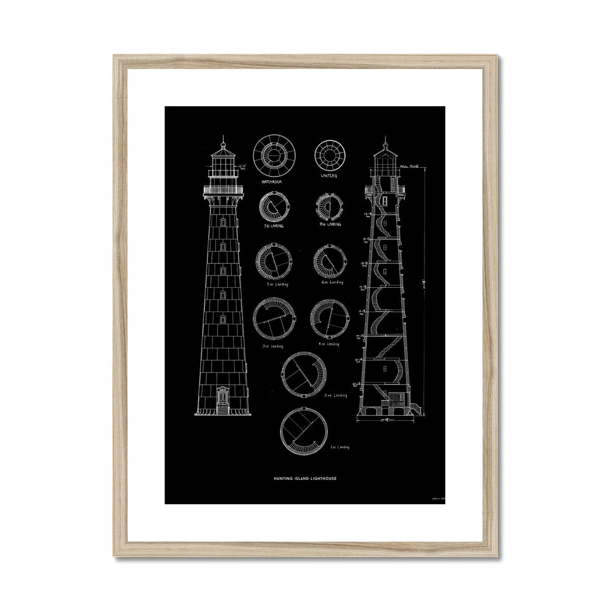 Hunting Island Second Order Lighthouse - Black -  Framed & Mounted Print