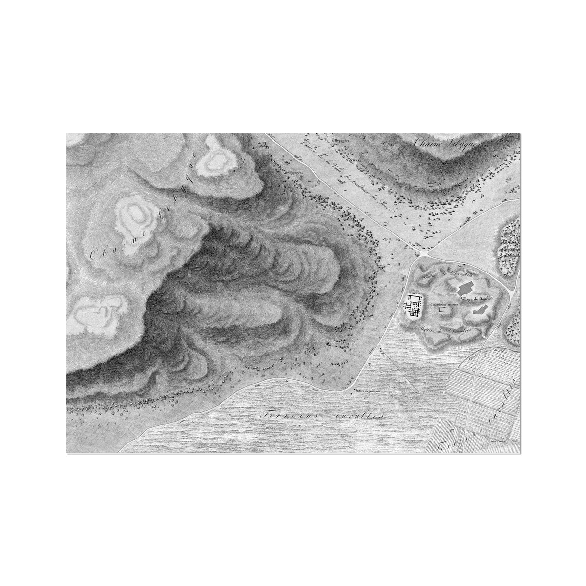 Topographic Map of the Ruins - Qournah - Thebes Egypt -  Etching Paper Print