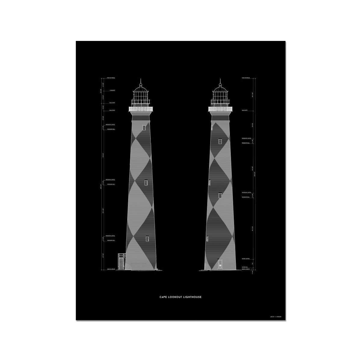 Cape Lookout Lighthouse - West and South Elevations - Black -  Etching Paper Print