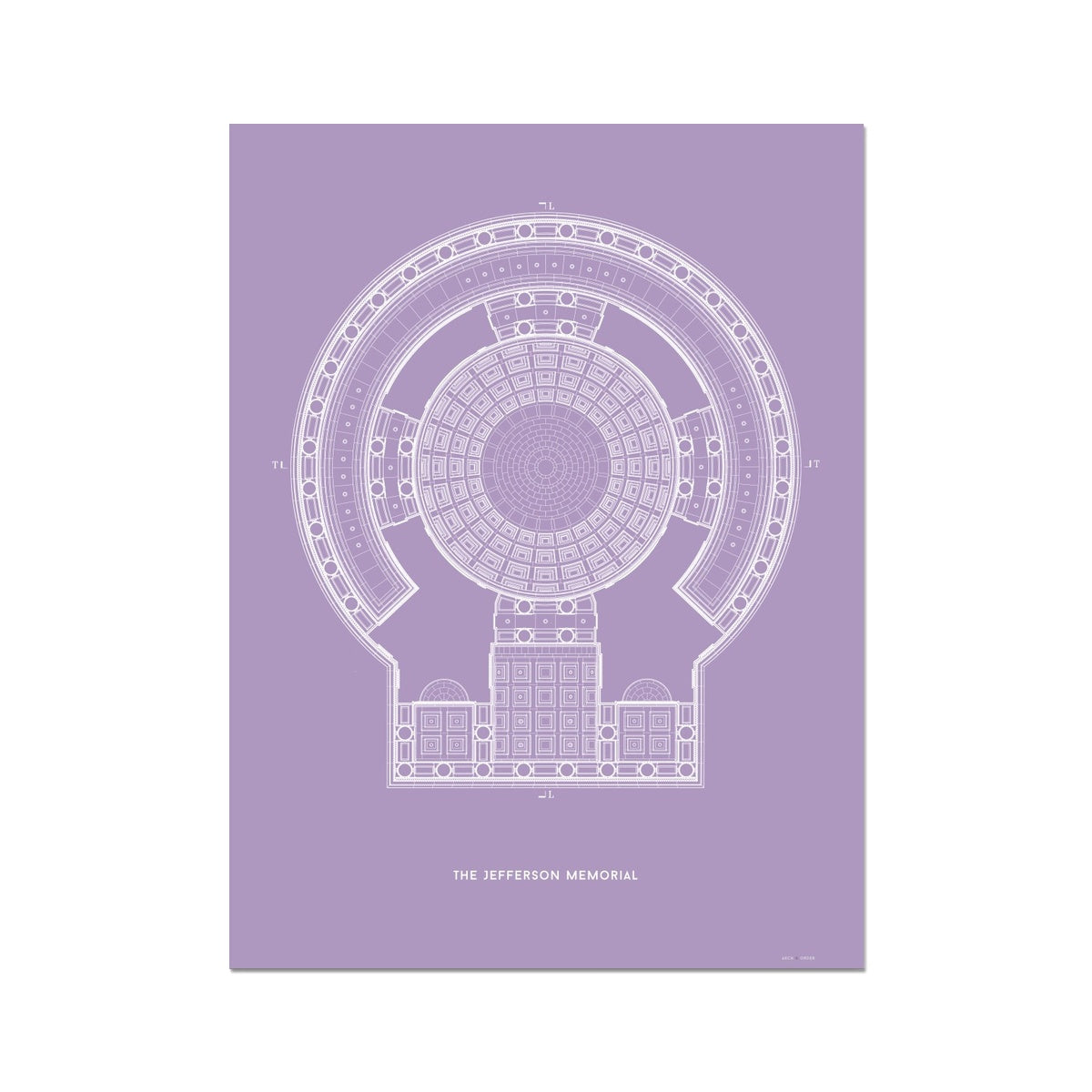 The Jefferson Memorial Reverse Ceiling Detail - Lavender -  Etching Paper Print