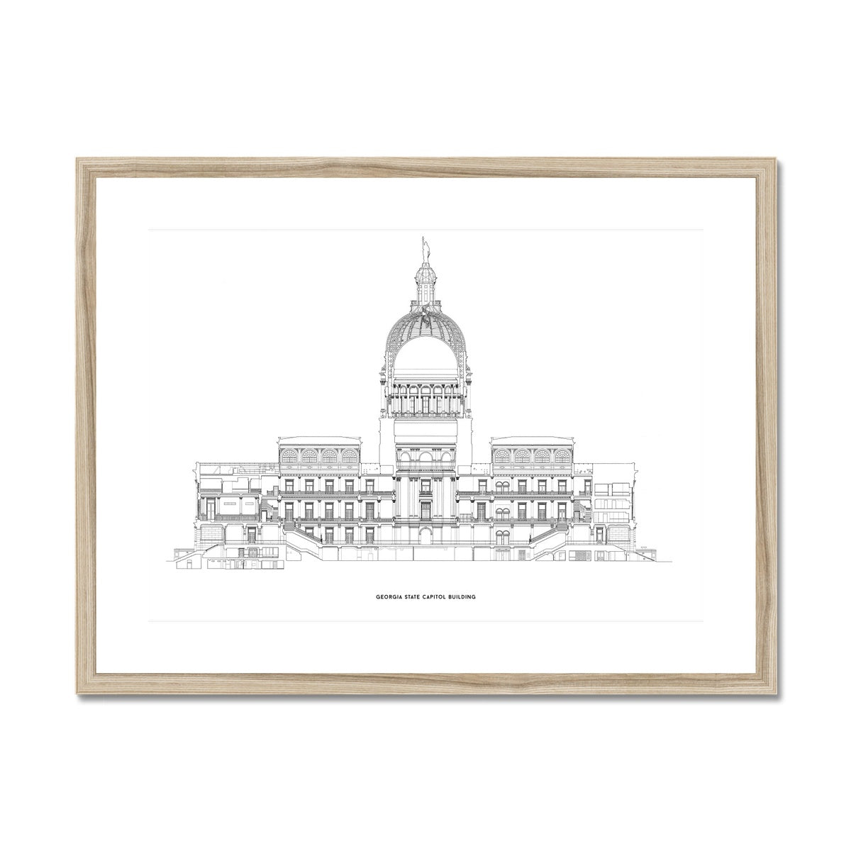 The Georgia State Capitol Building - West Elevation Cross Section - White -  Framed & Mounted Print