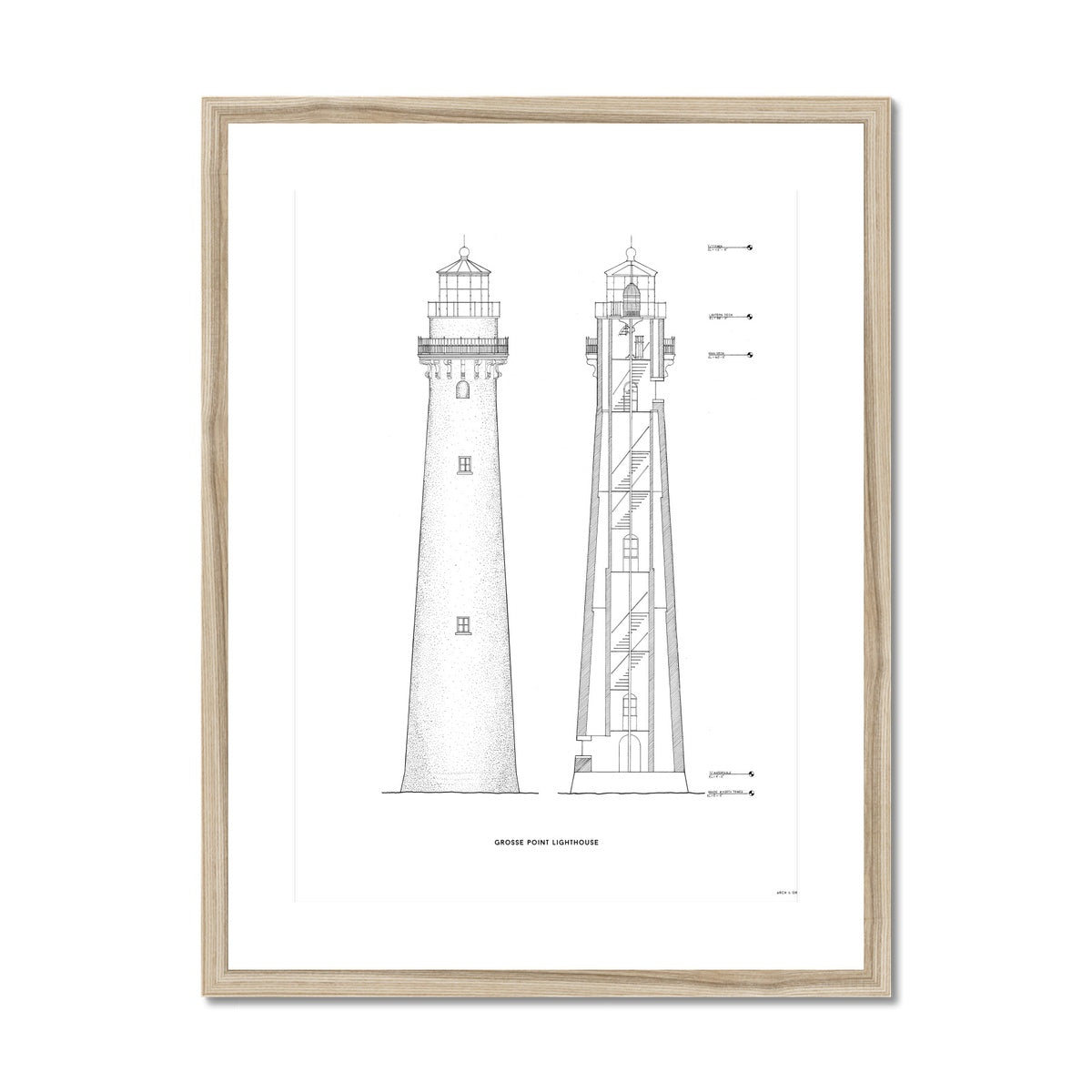 Grosse Point Lighthouse - East Elevation and Cross Section - White -  Framed & Mounted Print