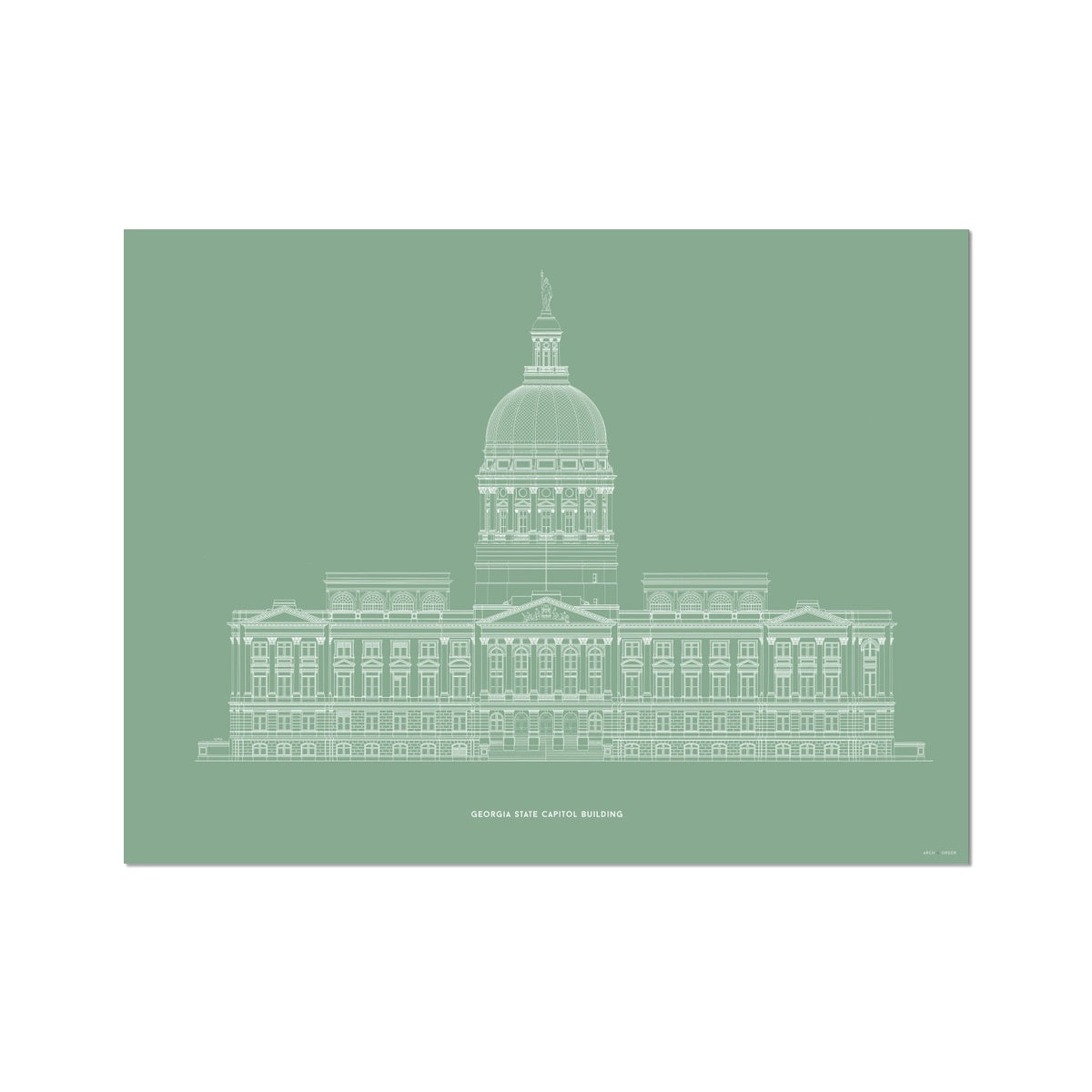 The Georgia State Capitol Building - West Elevation - Green -  Etching Paper Print