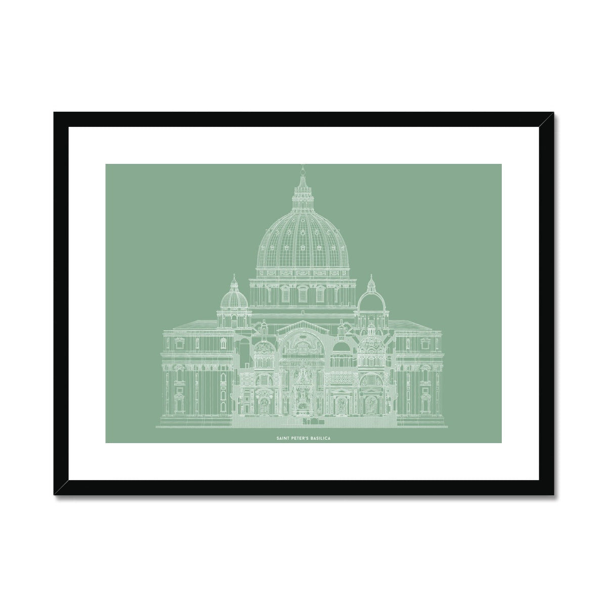 Saint Peter's Basilica - Primary Elevation Cross Section - Green -  Framed & Mounted Print