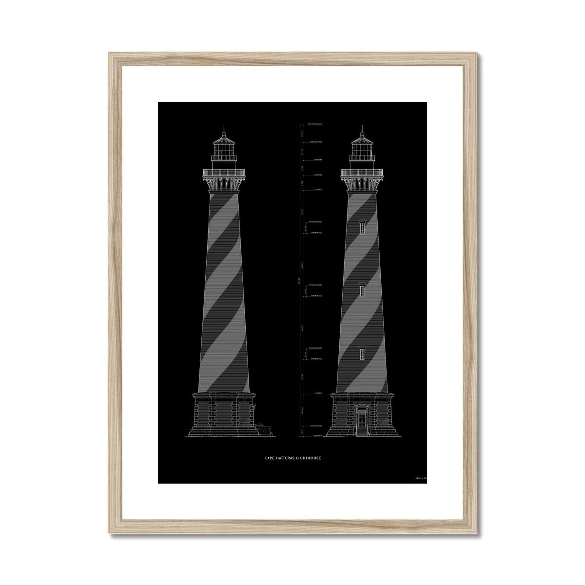 Cape Hatteras Lighthouse - North and East Elevations - Black -  Framed & Mounted Print