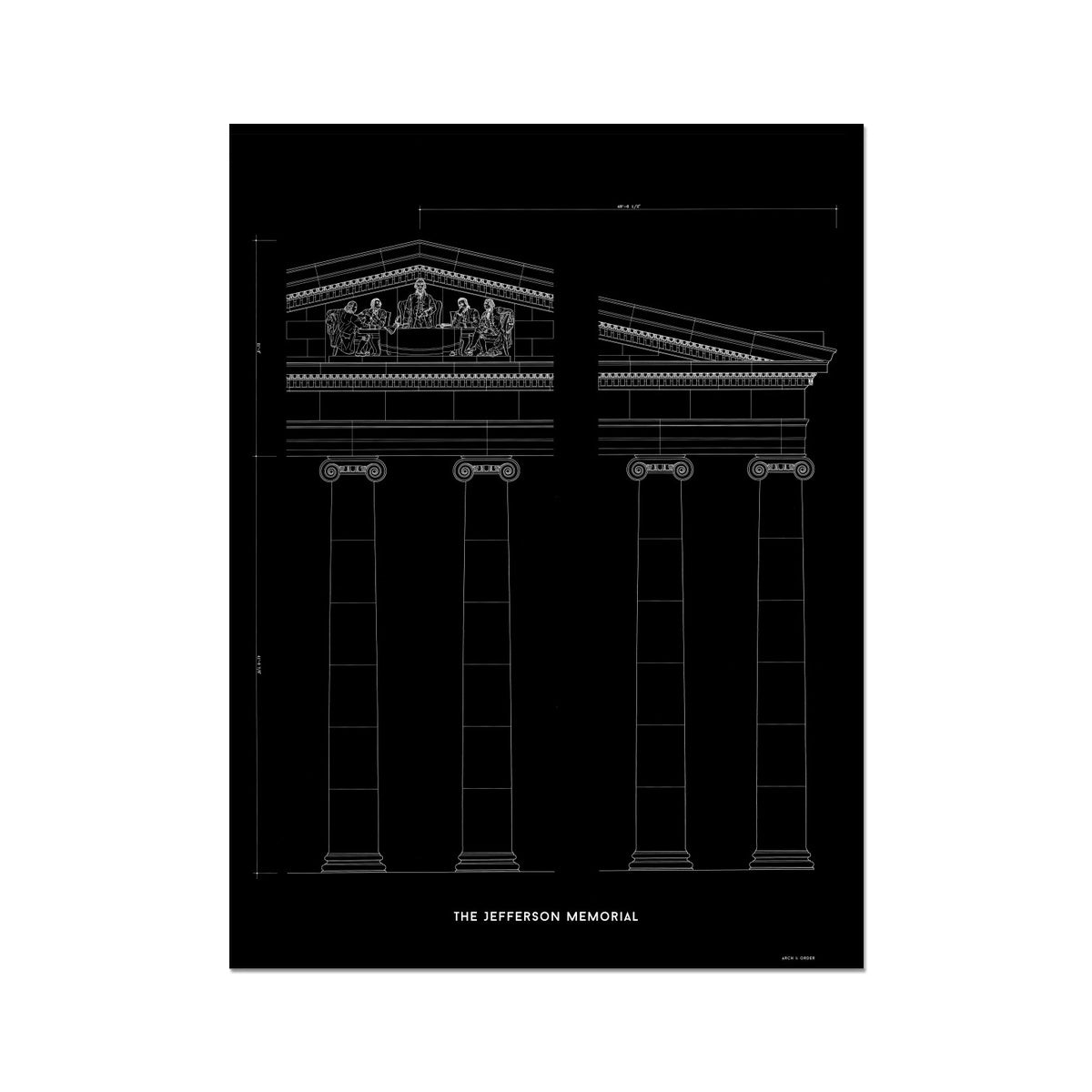 The Jefferson Memorial Portico Detail - Black -  Etching Paper Print