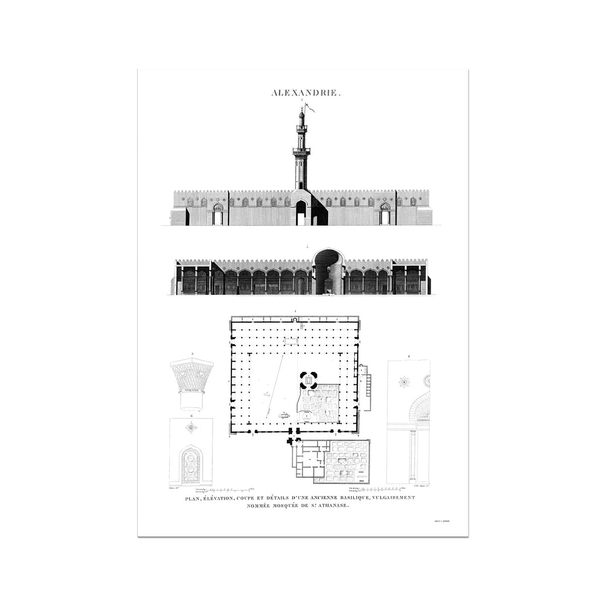 Mosque of St. Athanasius Elevation - Alexandria Egypt -  Etching Paper Print