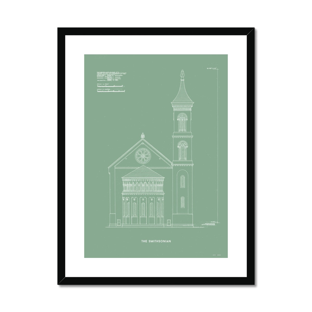 The Smithsonian West Wing Detail - Green -  Framed & Mounted Print