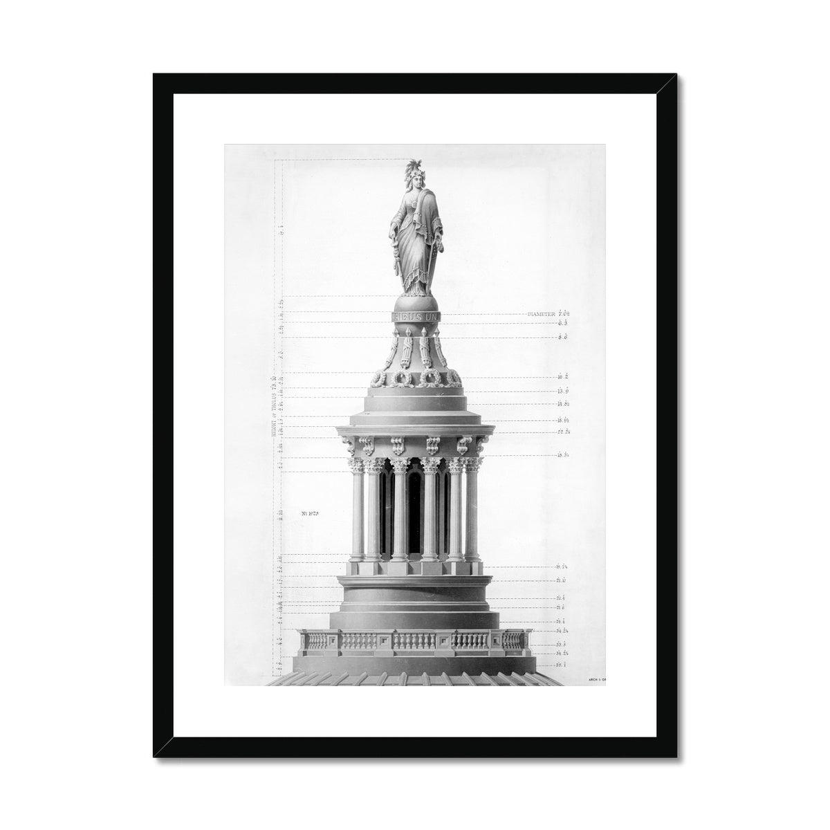 The U.S. Capitol Building - Tholus - White -  Framed & Mounted Print