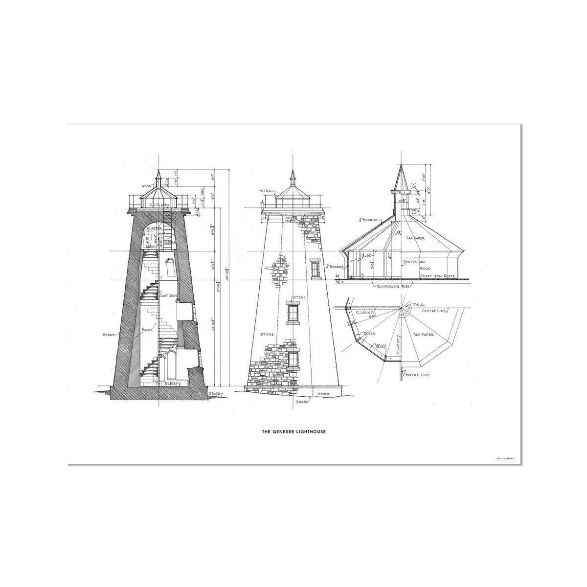 The Genesee Lighthouse - South Elevation and Cross Section - White - German Etching Print
