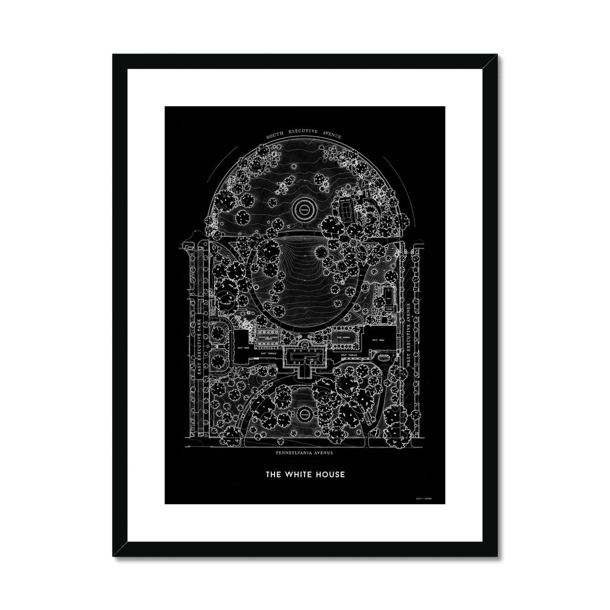 The White House Site Plan - Black -  Framed & Mounted Print