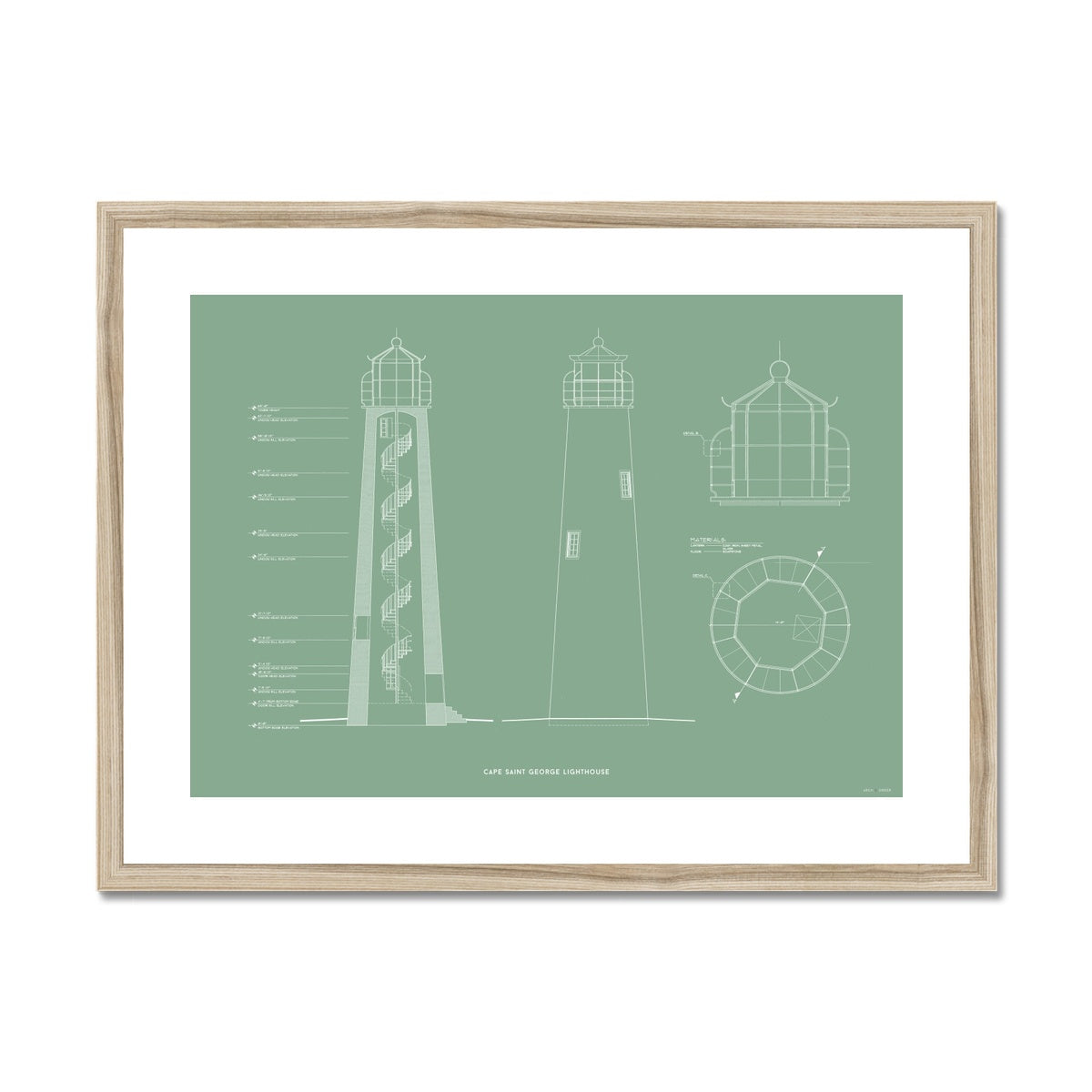 Cape Saint George Lighthouse - Southeast Elevation and Cross Section - Green - Framed Mounted Print