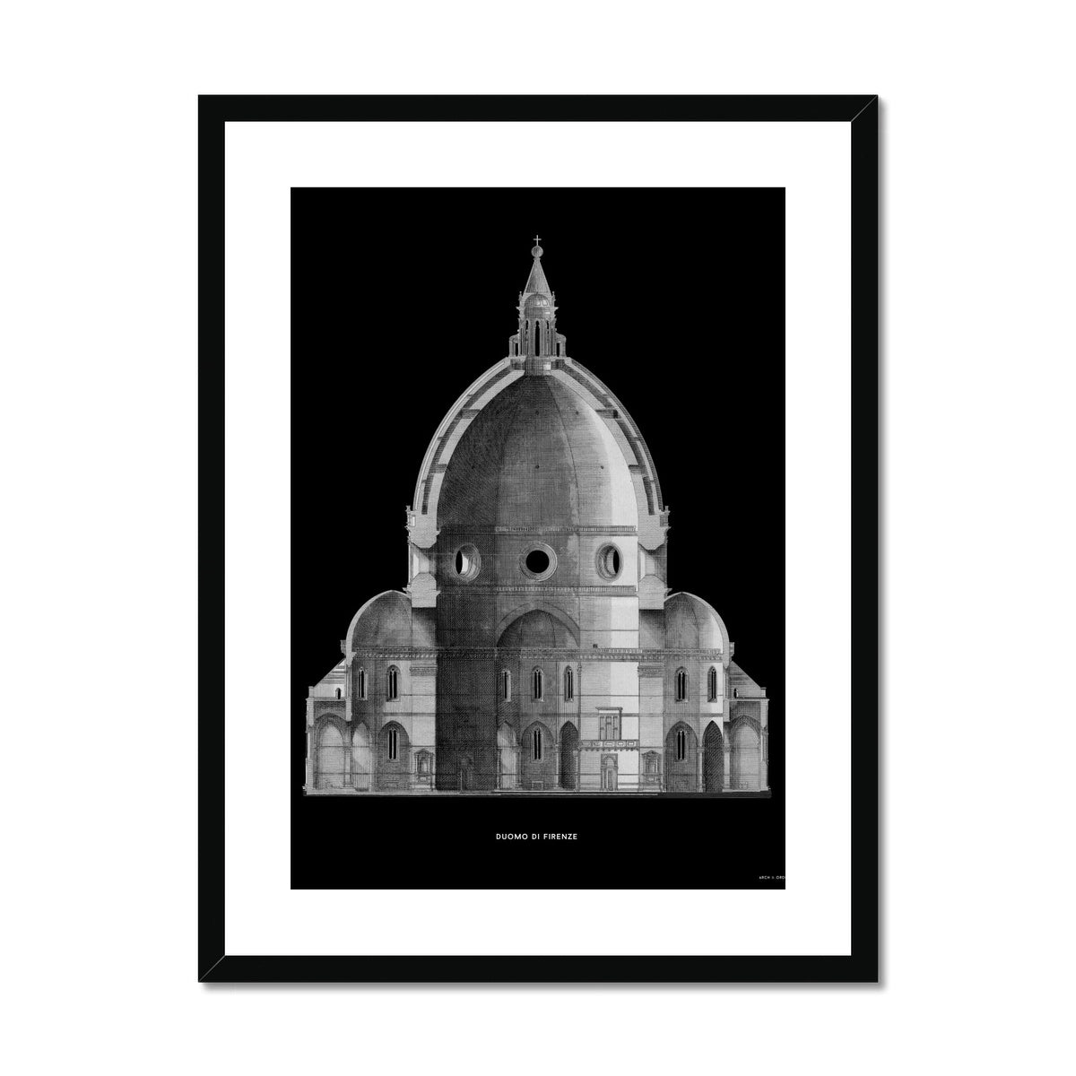 Duomo di Firenze - Primary Elevation Cross Section - Black -  Framed & Mounted Print