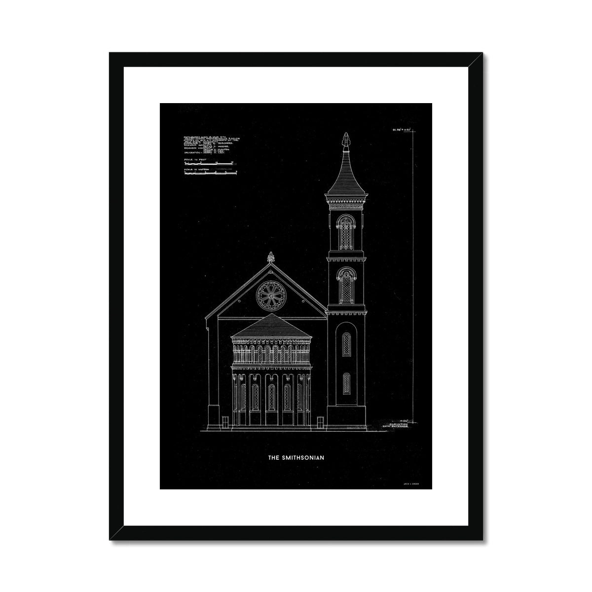 The Smithsonian West Wing Detail - Black -  Framed & Mounted Print