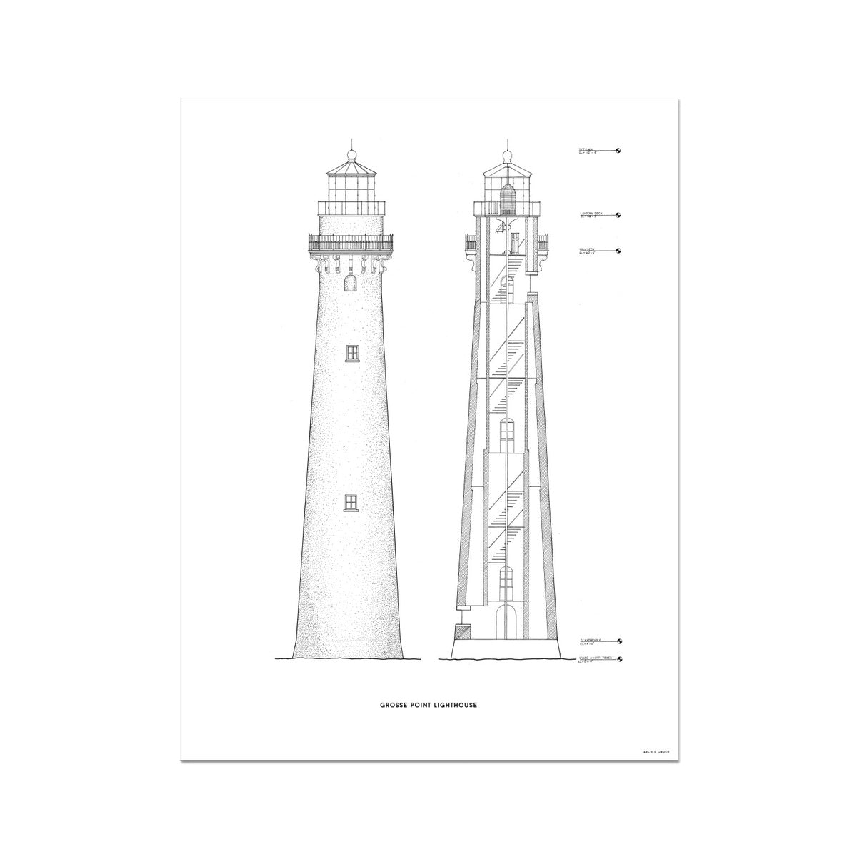 Grosse Point Lighthouse - East Elevation and Cross Section - White - German Etching Print