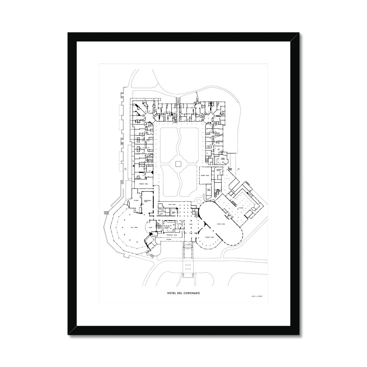 Hotel Del Coronado - Floor Plan - White -  Framed & Mounted Print