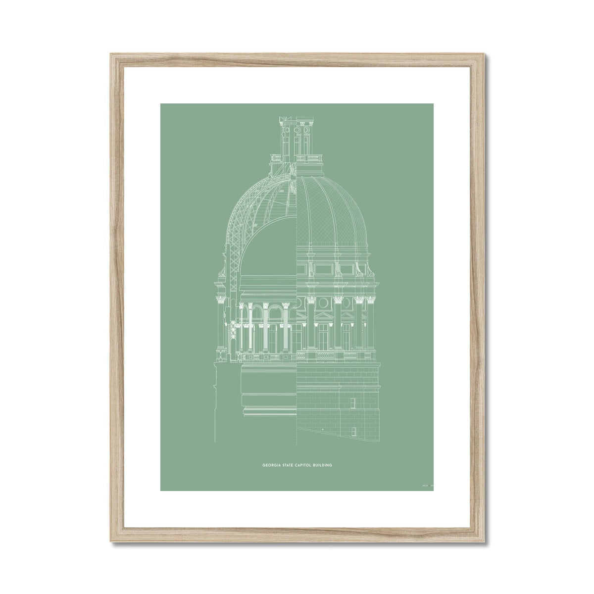 The Georgia State Capitol Building - Dome Cross Section - Green -  Framed & Mounted Print