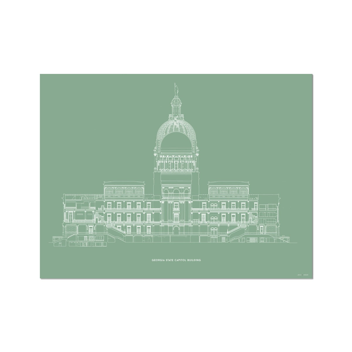 The Georgia State Capitol Building - West Elevation Cross Section - Green - German Etching Print