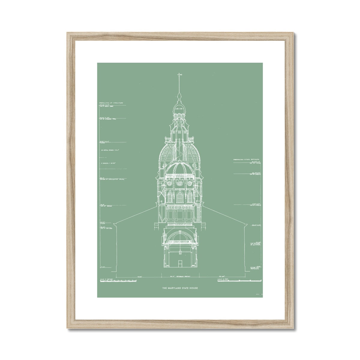 The Maryland State House - Northwest Elevation Cross Section - Green -  Framed & Mounted Print
