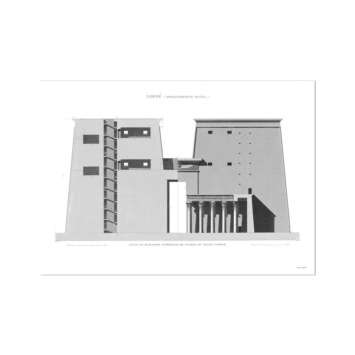 Temple of Horus Primary Elevation Cross Section - Edfu Egypt -  Etching Paper Print