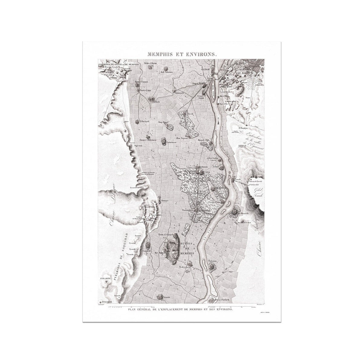 Map of the Ruins - Memphis Egypt -  Etching Paper Print