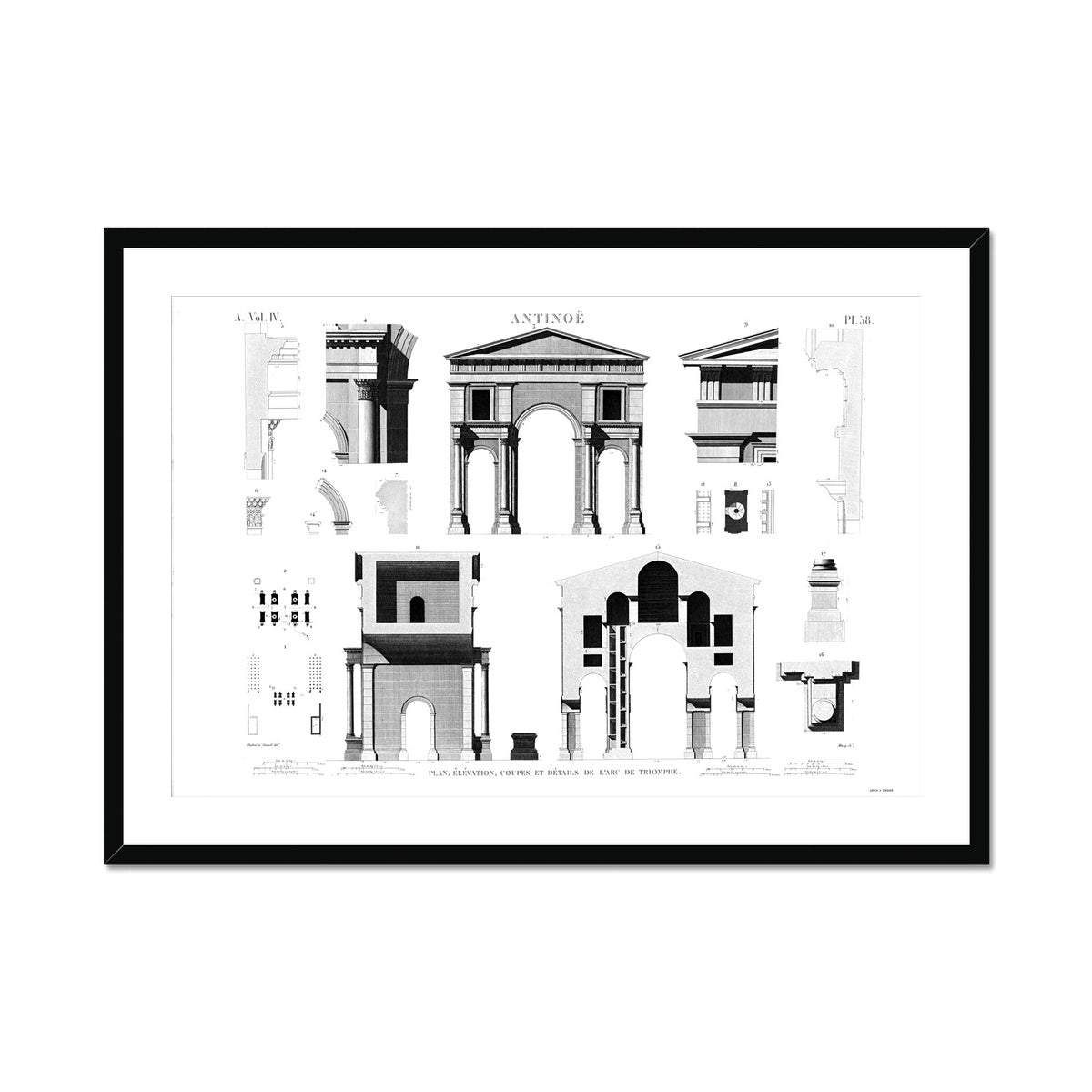 Triumphal Arch Elevation - Antinoöpolis Egypt -  Framed & Mounted Print