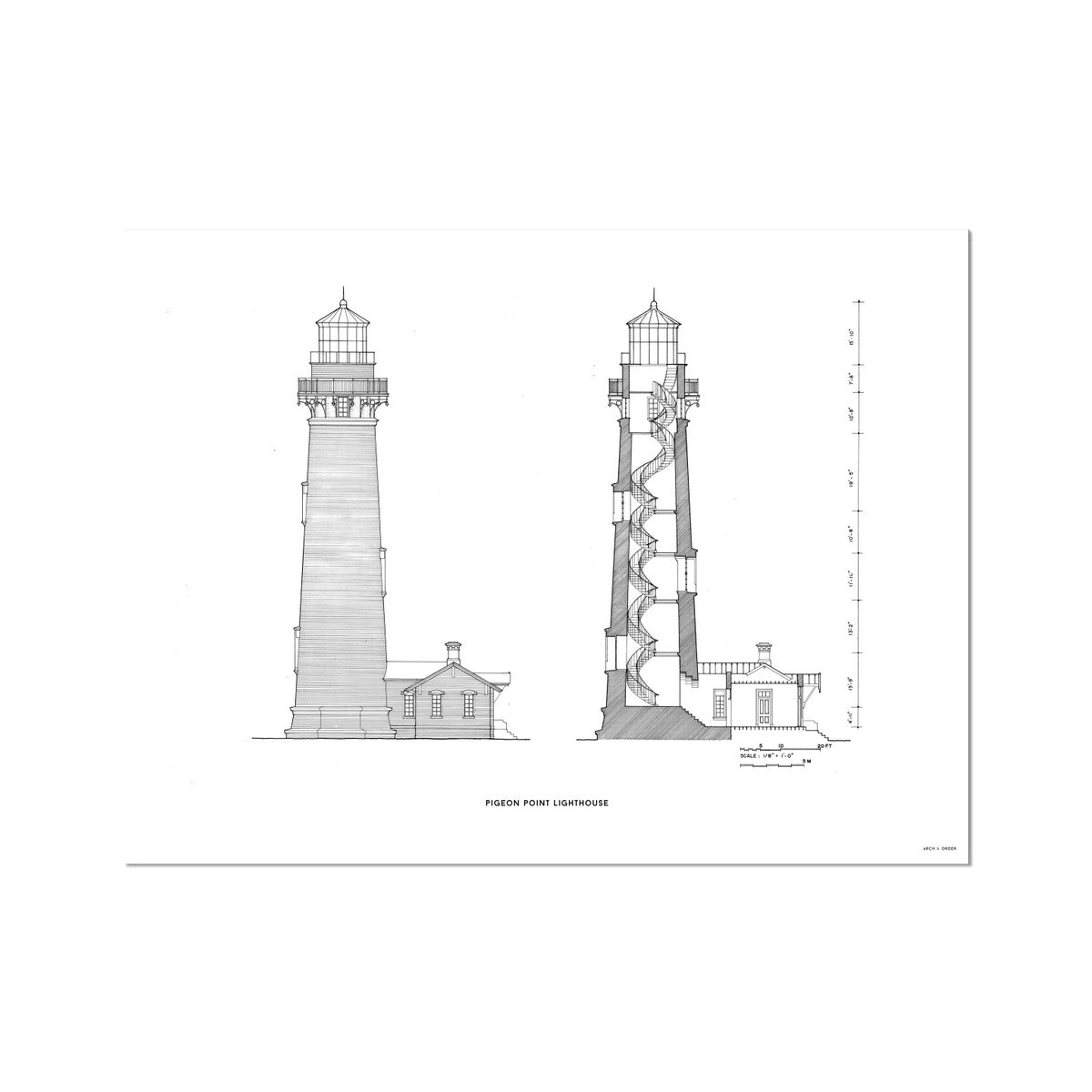 Pigeon Point Lighthouse - Southeast Elevation and Cross Section - White - German Etching Print