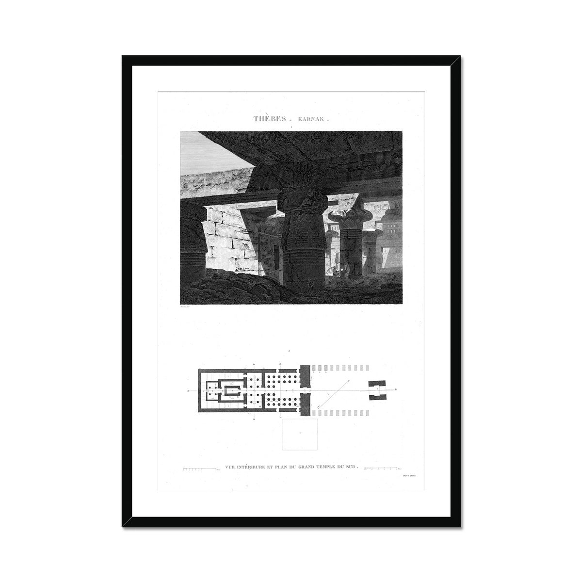 Interior View and Plan of the Great South Temple - Karnak - Thebes Egypt -  Framed & Mounted Print