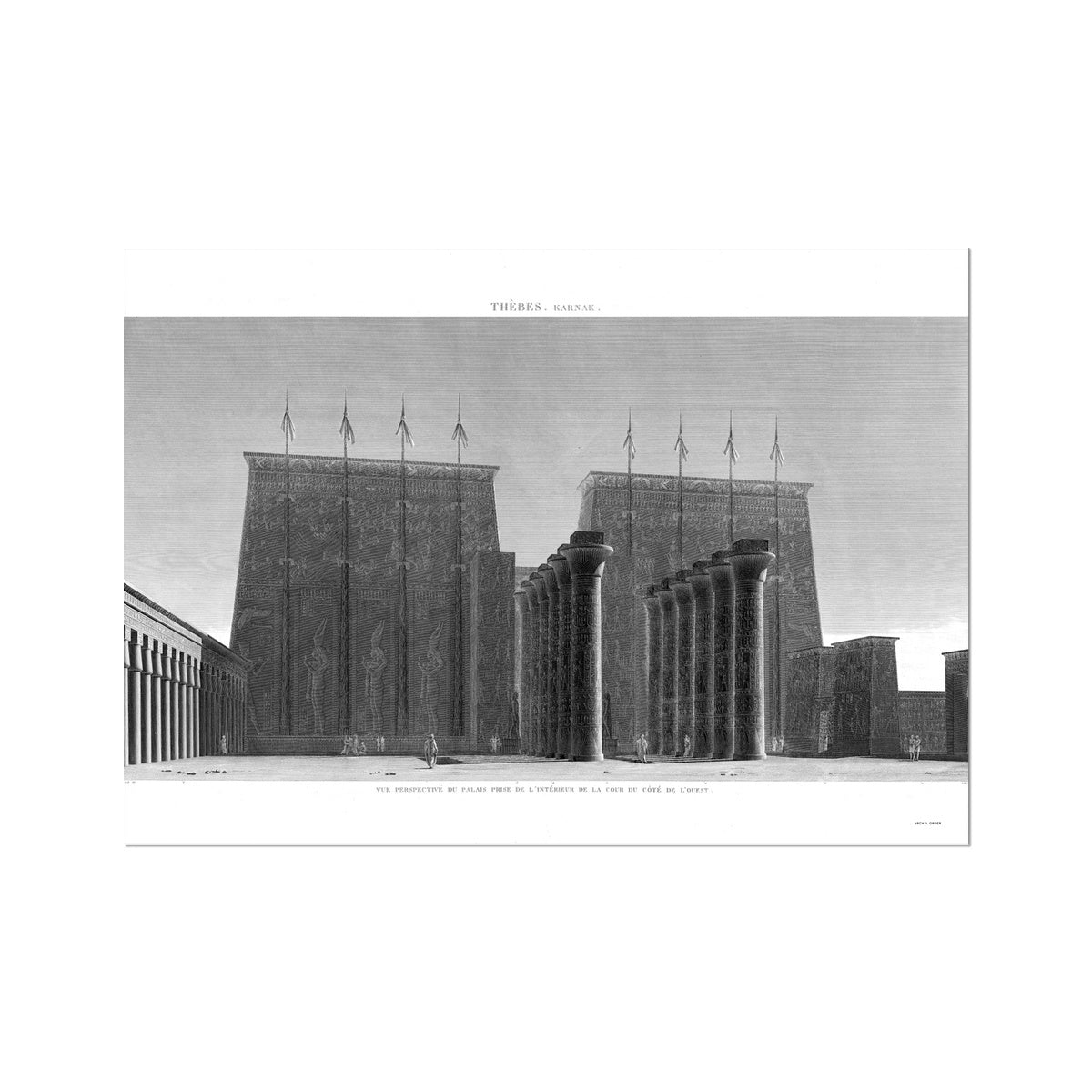 Courtyard View of the Palace - Karnak - Thebes Egypt -  Etching Paper Print