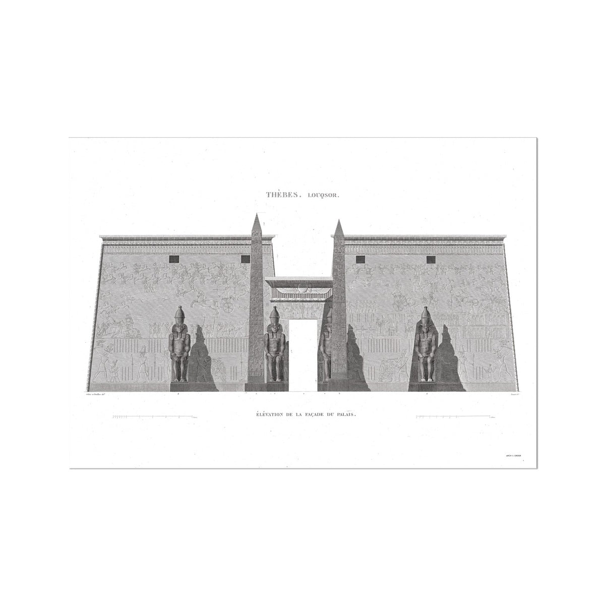 Primary Elevation of the Palace - Luxor - Thebes Egypt -  Etching Paper Print