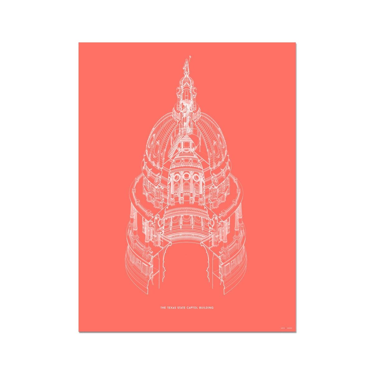 The Texas State Capitol Building - Dome Axonometric Cross Section - Red - German Etching Print