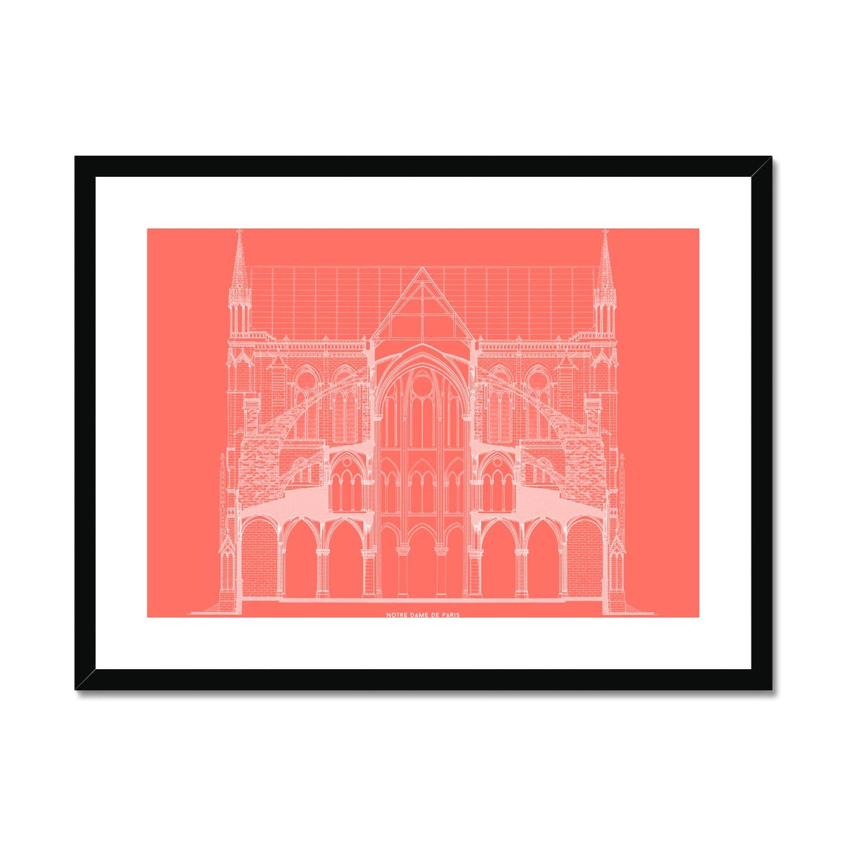 Notre Dame de Paris - Full Cross Section - Red -  Framed & Mounted Print