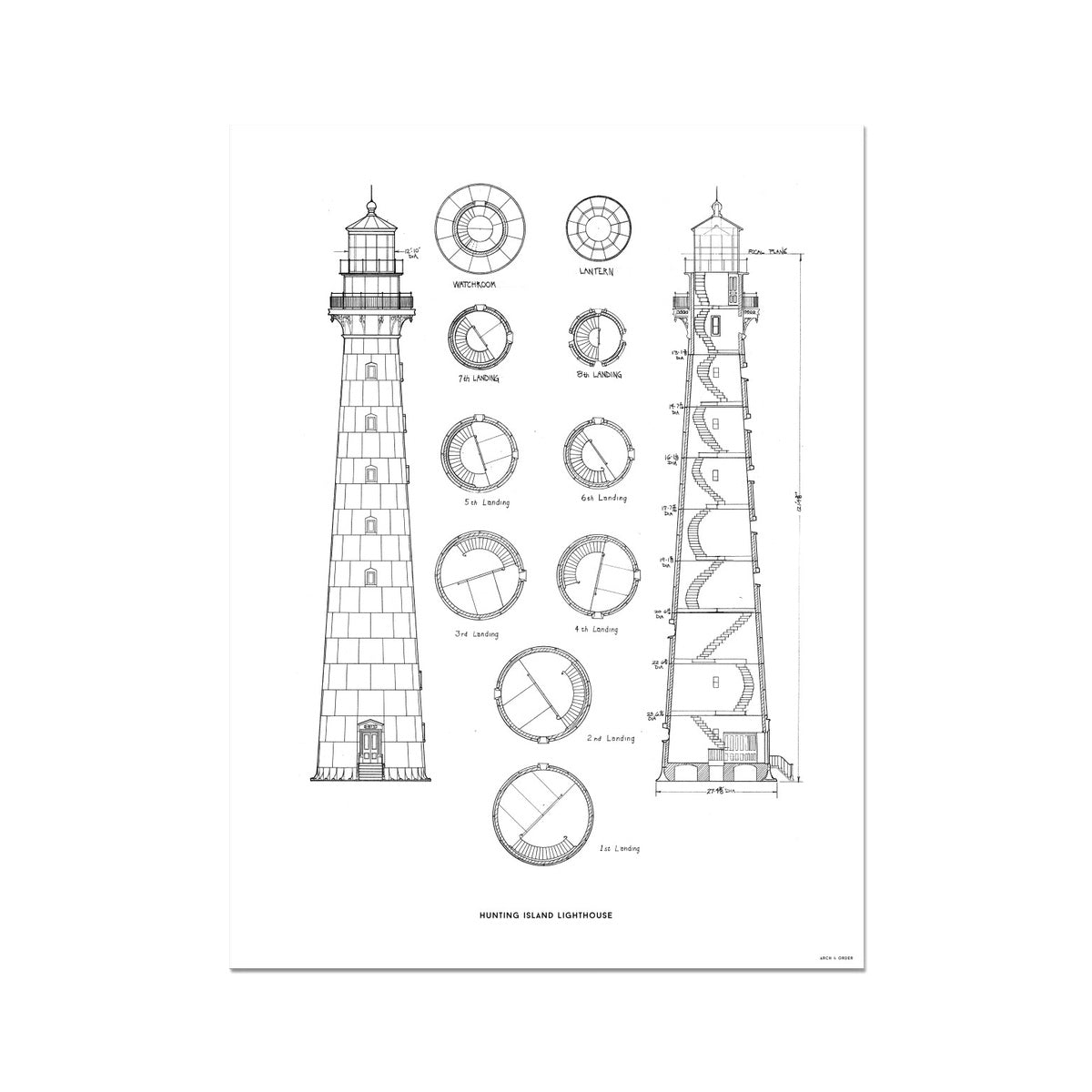 Hunting Island Second Order Lighthouse - White -  Etching Paper Print