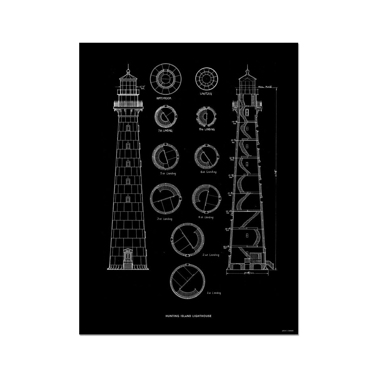 Hunting Island Second Order Lighthouse - Black -  Etching Paper Print