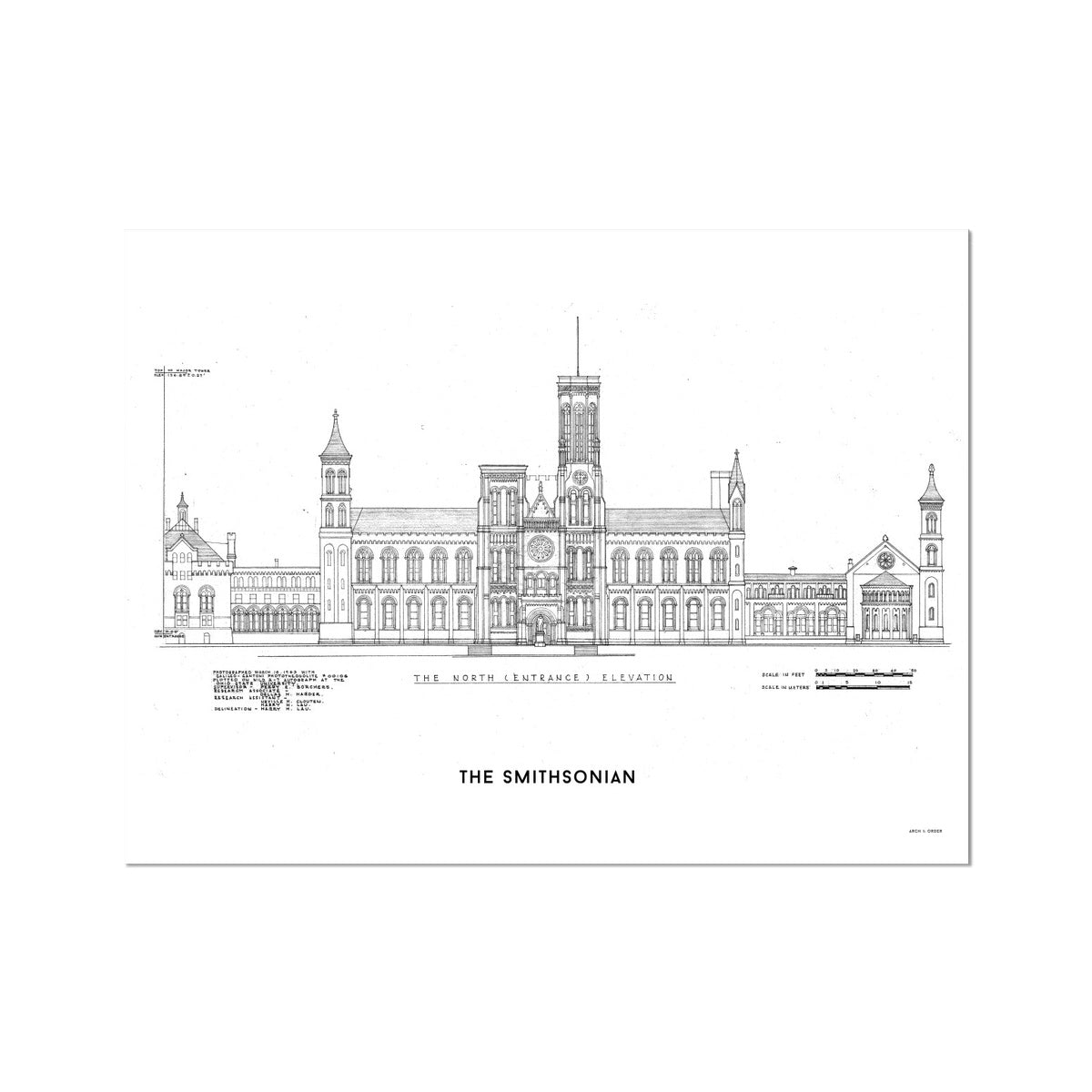 The Smithsonian North Elevation - White -  Etching Paper Print