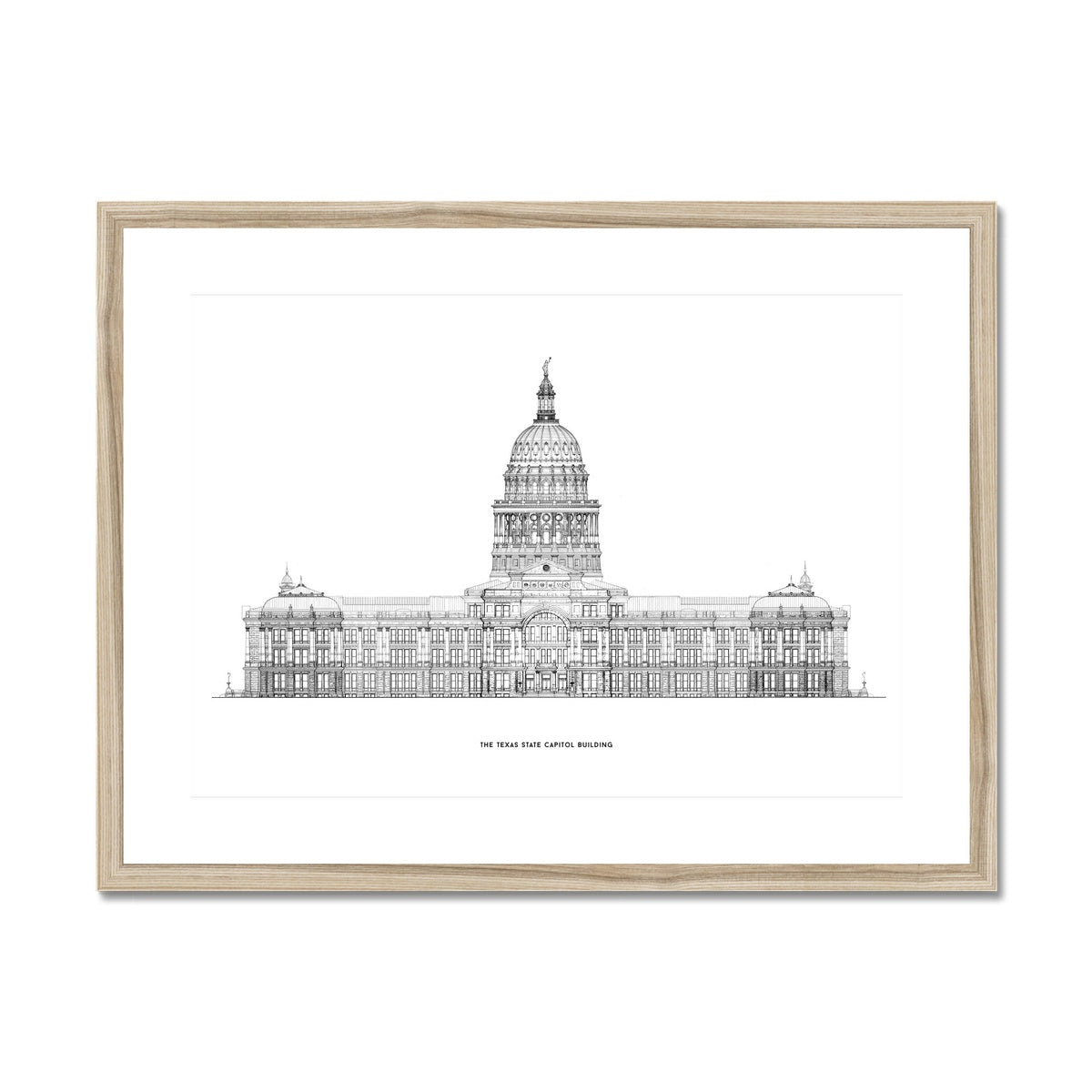 The Texas State Capitol Building - South Elevation - White -  Framed & Mounted Print