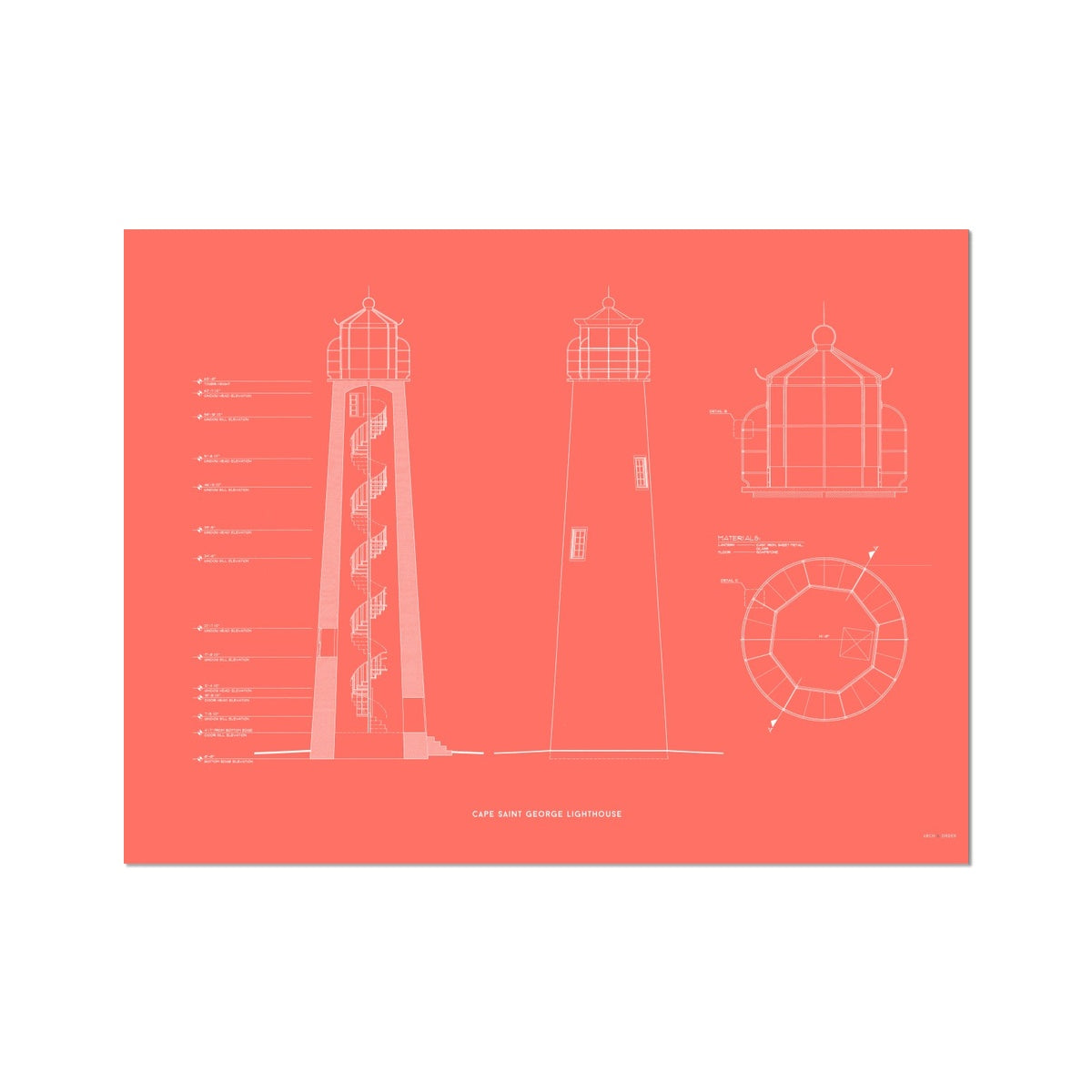 Fort Jefferson - Tortugas Harbor Lighthouse - Cross Section - Red -  Etching Paper Print