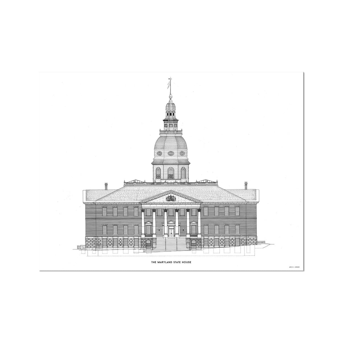 The Maryland State House - Northwest Elevation - White -  Etching Paper Print