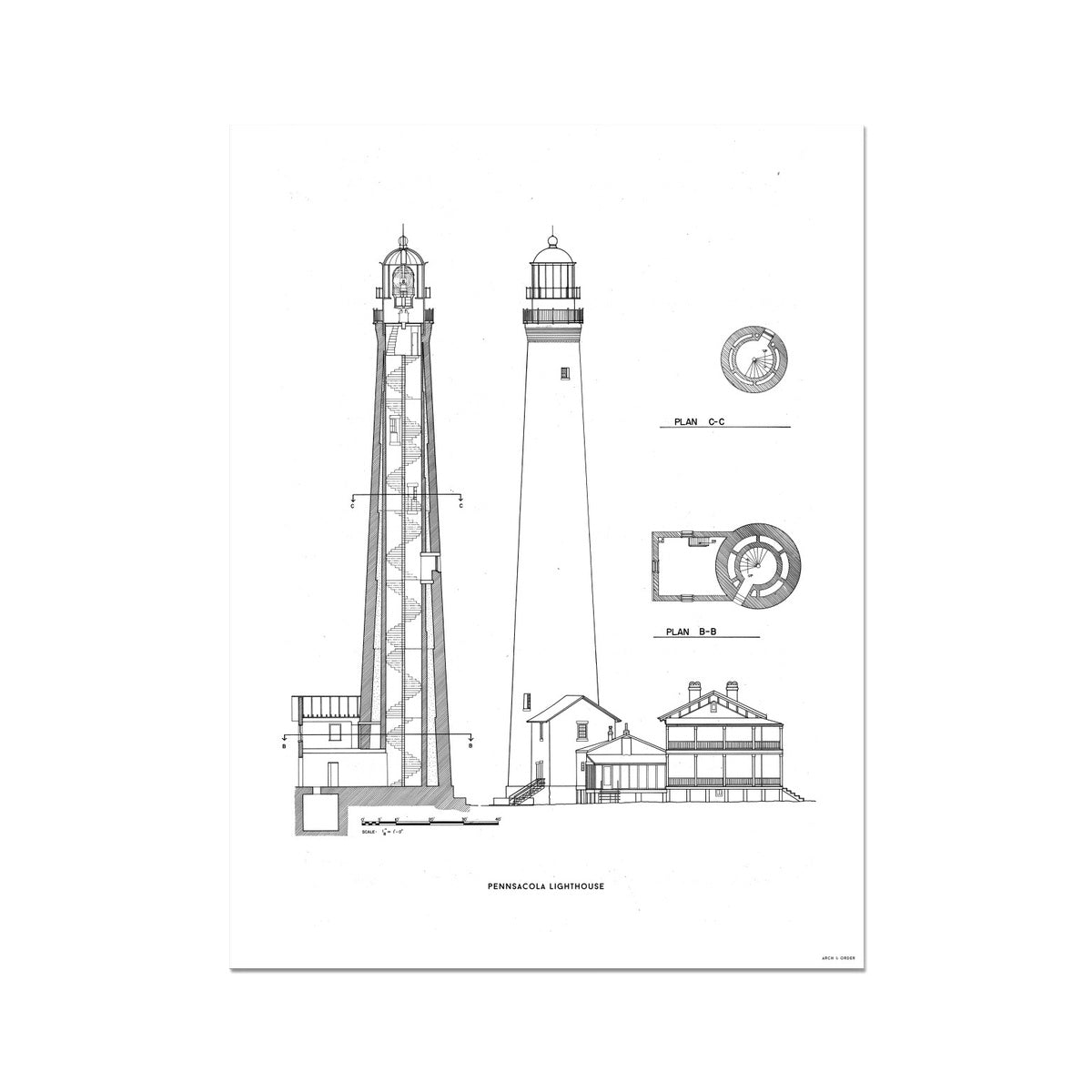 The Pensacola Lighthouse - West Elevation and Cross Section - White - German Etching Print