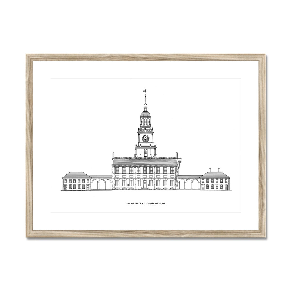 Independence Hall - North Elevation - White -  Framed & Mounted Print