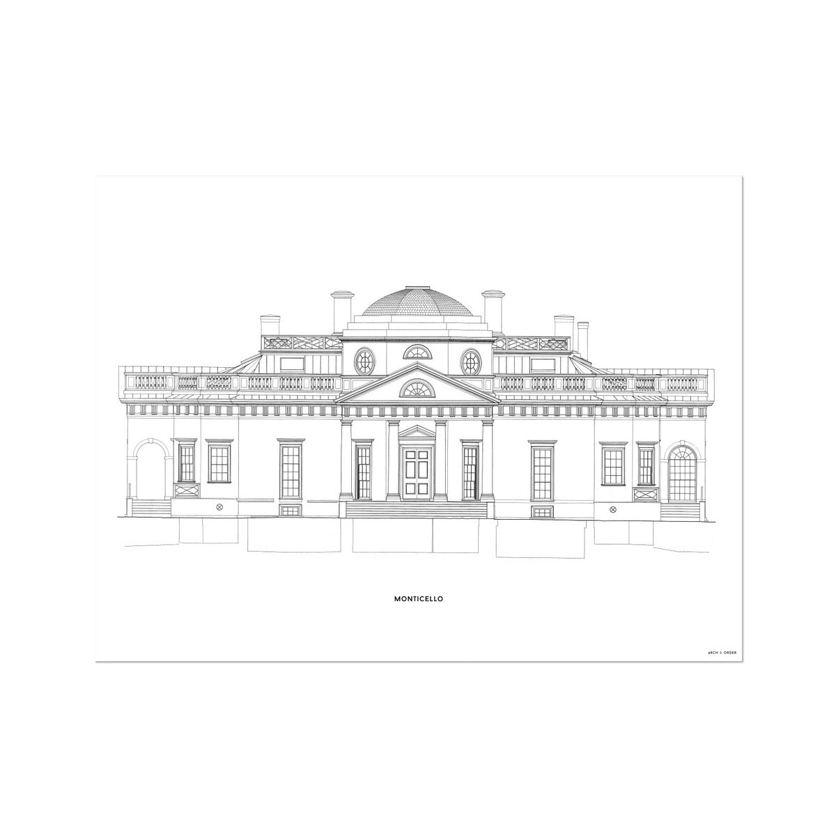 Monticello - West Elevation - White -  Etching Paper Print