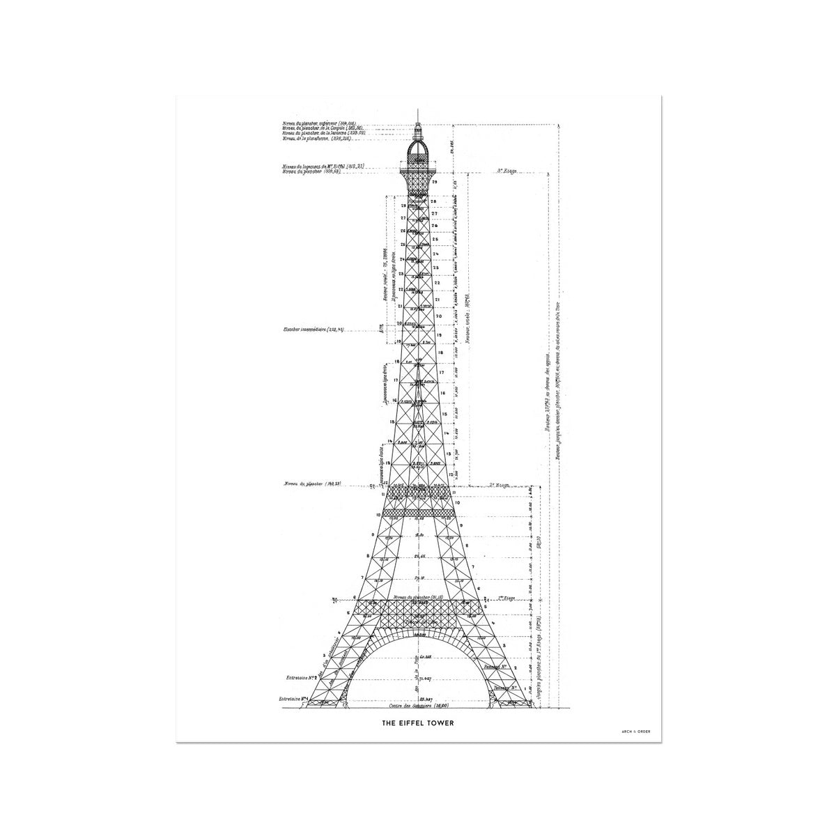 The Eiffel Tower - Structure Elevation - White -  Etching Paper Print
