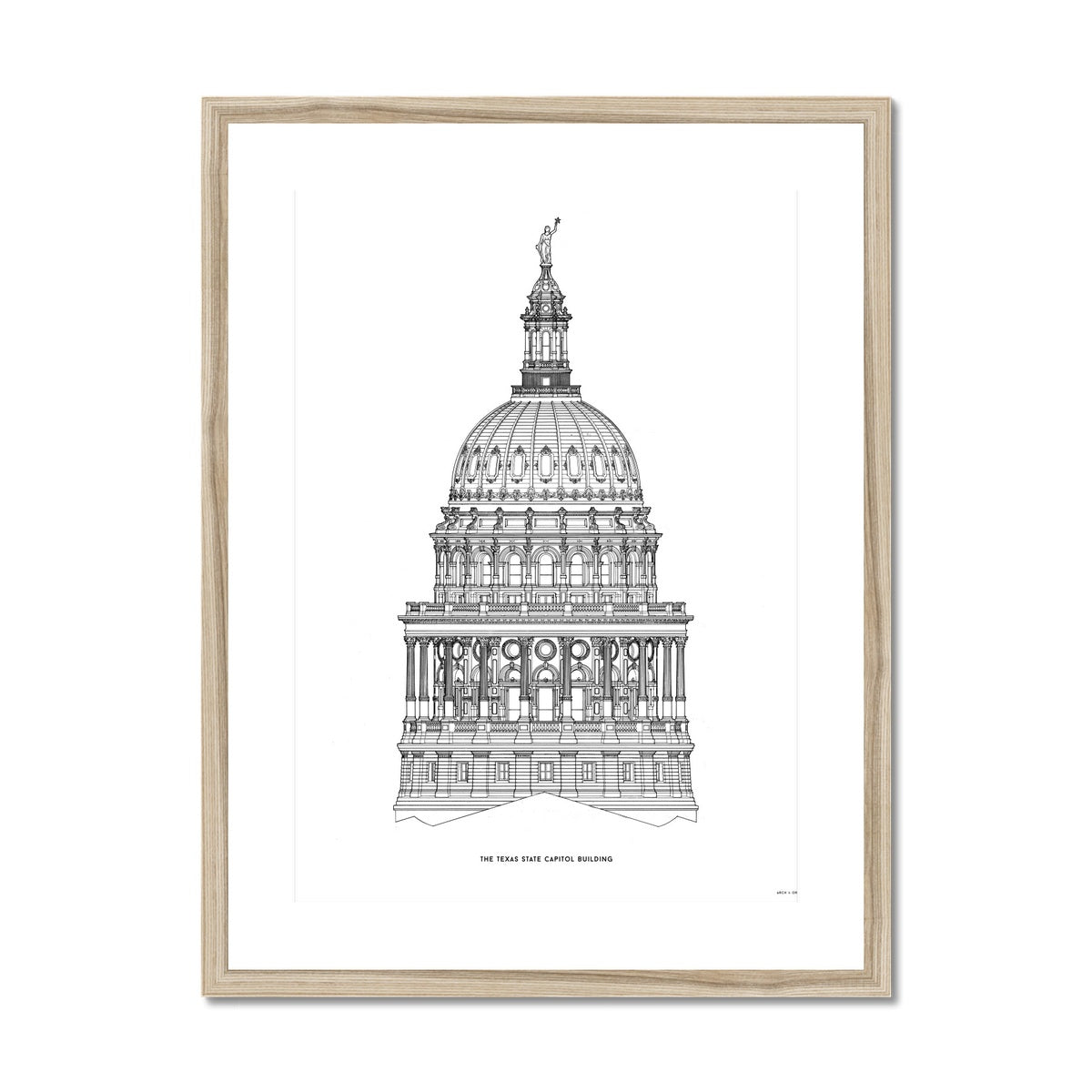 The Texas State Capitol Building - Dome South Elevation Detail - White -  Framed & Mounted Print