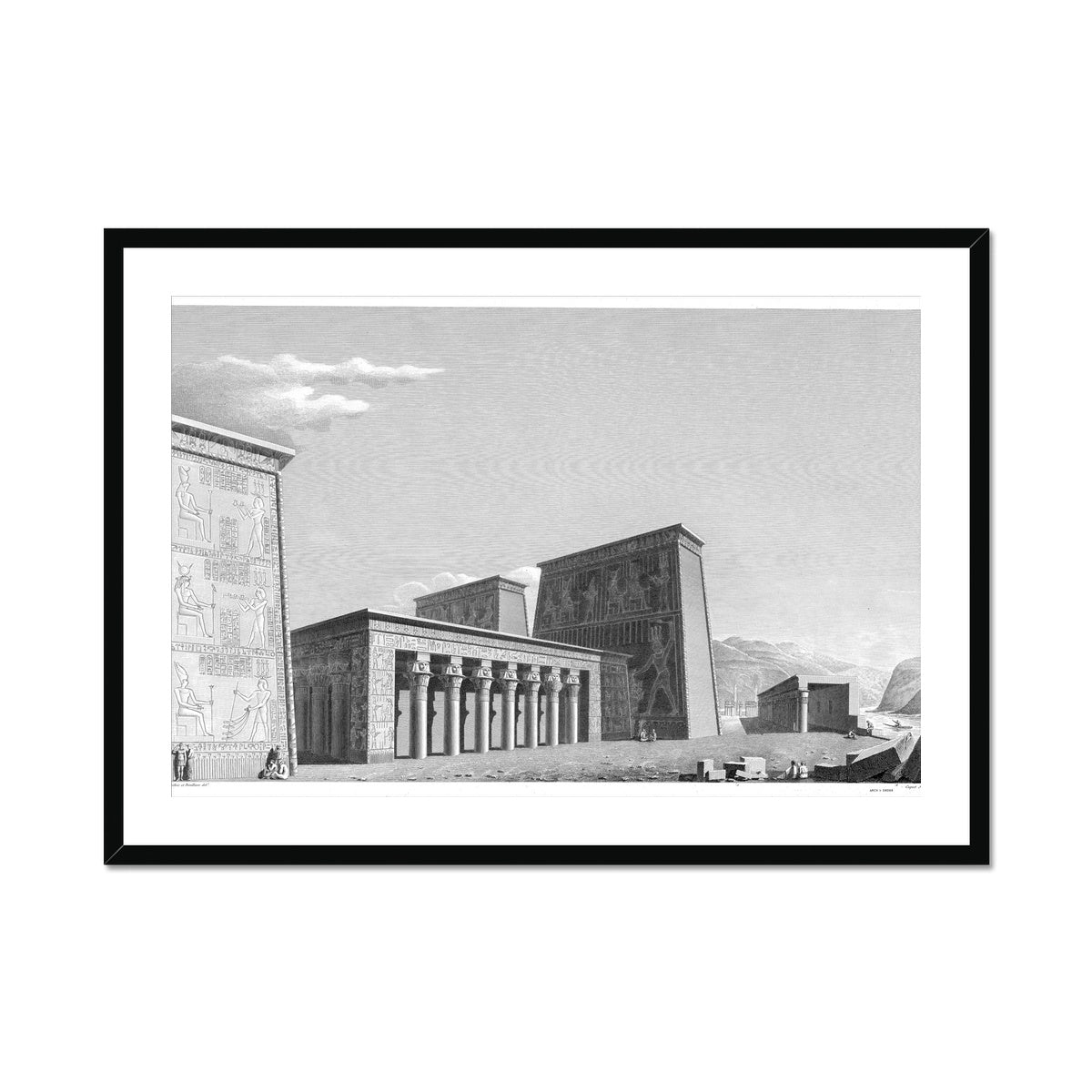 The Temple of Isis Perspective from the West - Philae Egypt -  Framed & Mounted Print